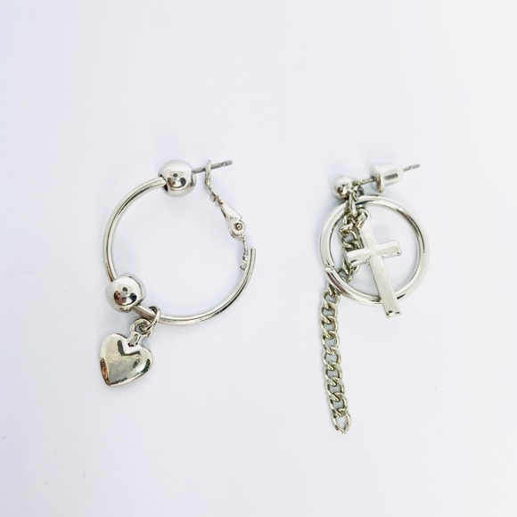 0ab4ee104 Kate Stylist Jewelry | New Loving Heart Cross Chain Hoop Earrings ...